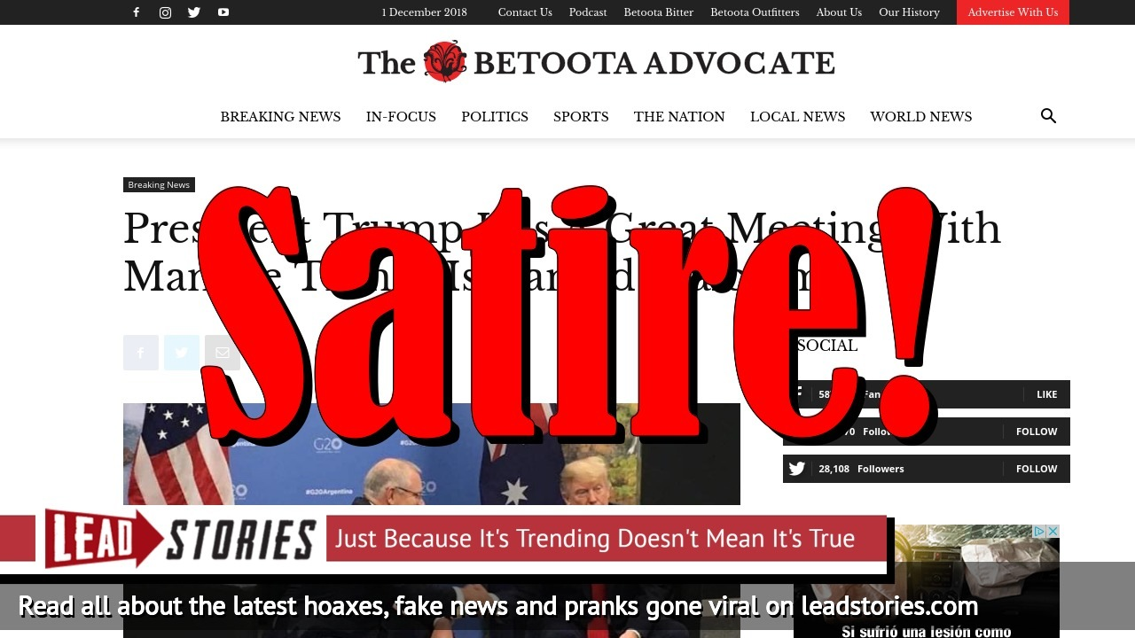 Screenshot of https://www.betootaadvocate.com/breaking-news/president-trump-has-a-great-meeting-with-man-he-thinks-is-named-malcolm/