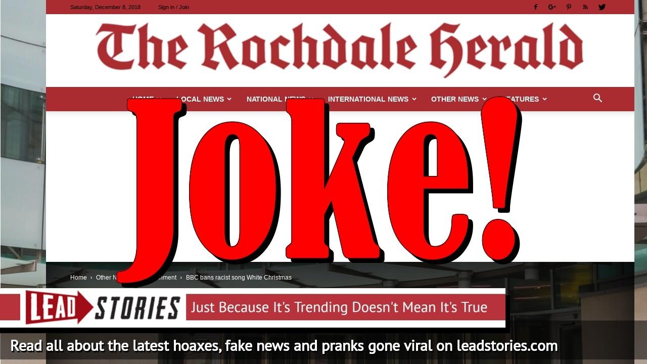Screenshot of https://rochdaleherald.co.uk/2018/12/08/bbc-bans-racist-song-white-christmas/