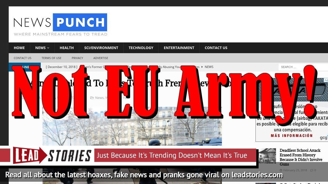 Screenshot of https://newspunch.com/eu-army-deployed-paris-crush-french-revolution/