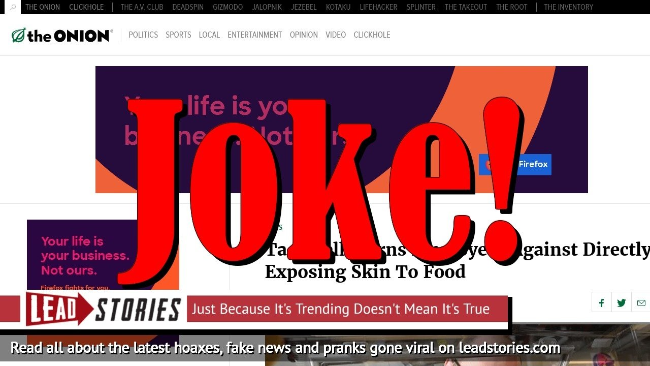 Screenshot of https://www.theonion.com/taco-bell-warns-employees-against-directly-exposing-ski-1819576531