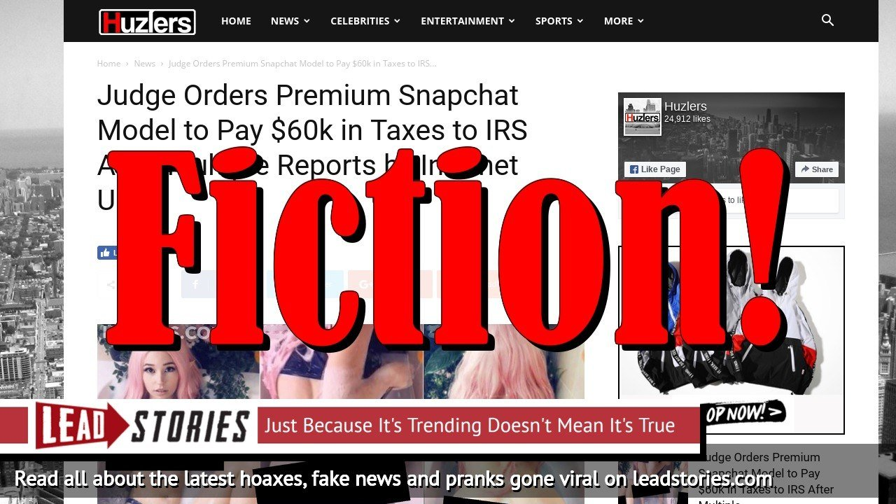 Screenshot of http://www.huzlers.com/judge-orders-premium-snapchat-model-to-pay-60k-in-taxes-to-irs-after-multiple-reports-by-internet-users/