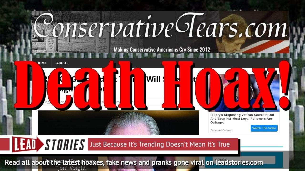 Screenshot of https://conservativetears.com/2018/12/17/breaking-president-trump-will-speak-at-jon-voights-funeral/