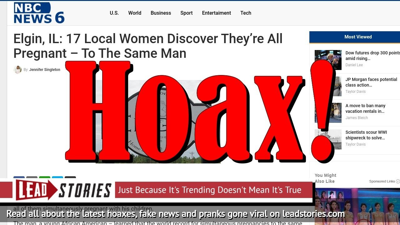 Fake News: No, 17 Local Women Did NOT Discover They Were All Pregnant To The Same Man