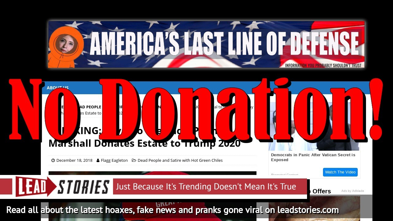 Fake News: Penny Marshall Did NOT Donate Estate to Trump 2020