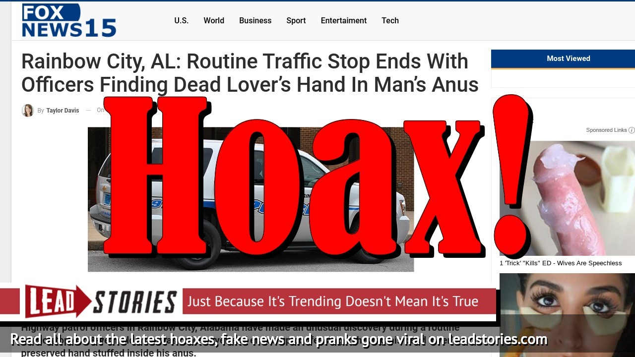 Fake News: Routine Traffic Stop Did NOT End With Officers Finding Dead Lover's Hand in Man's Anus