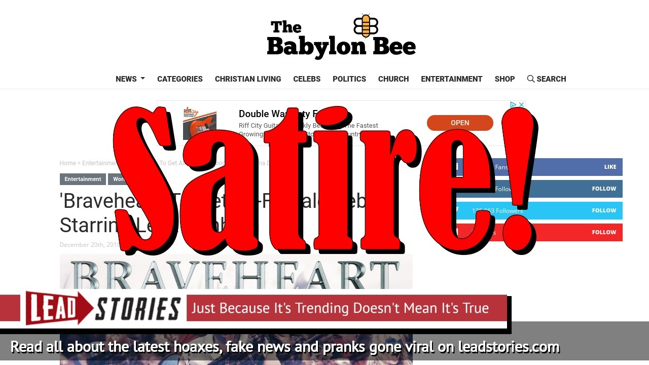 Screenshot of https://babylonbee.com/news/braveheart-to-get-all-female-reboot-starring-lena-dunham