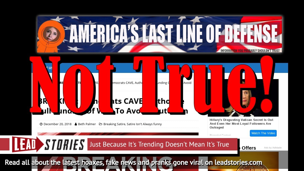 Fake News: Democrats Did NOT Cave, Did NOT Authorize Full Funding Of Wall To Avoid Shutdown