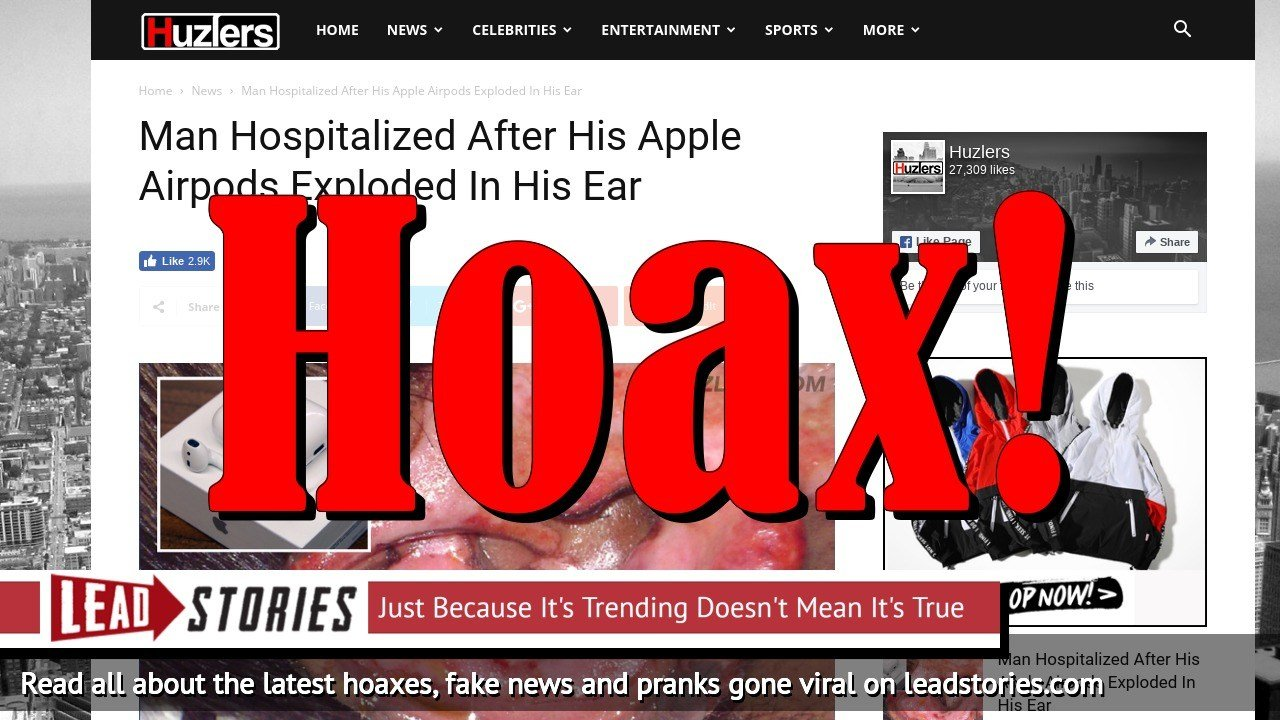 Screenshot of http://www.huzlers.com/man-hospitalized-after-his-apple-airpods-exploded-in-his-ear/