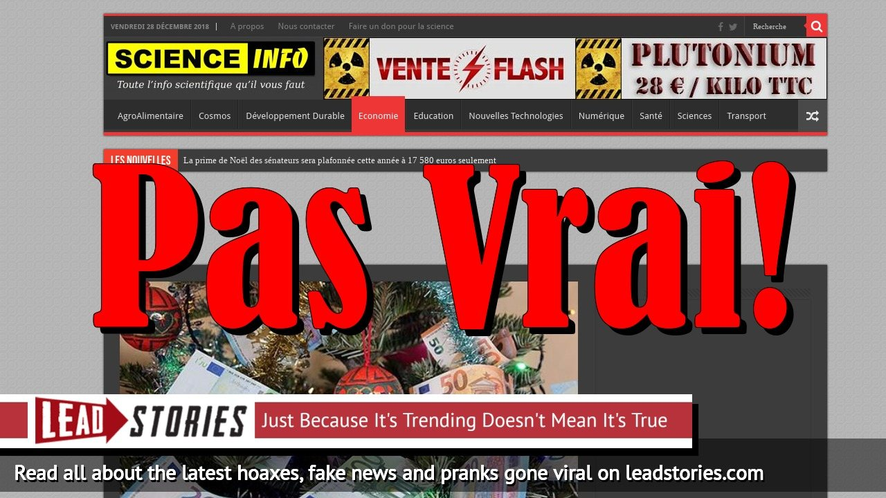 Fake News: French Senate Christmas Bonus NOT Capped At 'Only' 17 580 Euro