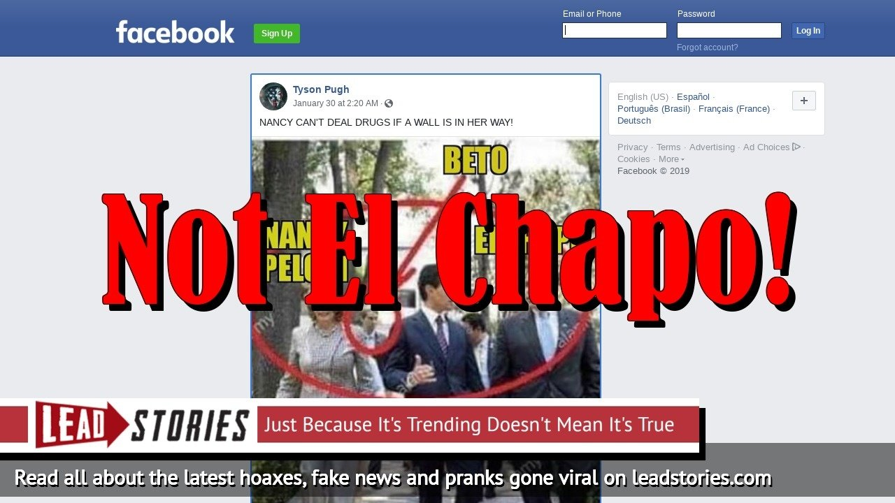 Fake News: NOT A Picture of Nancy Pelosi, Beto O'Rourke and El Chapo