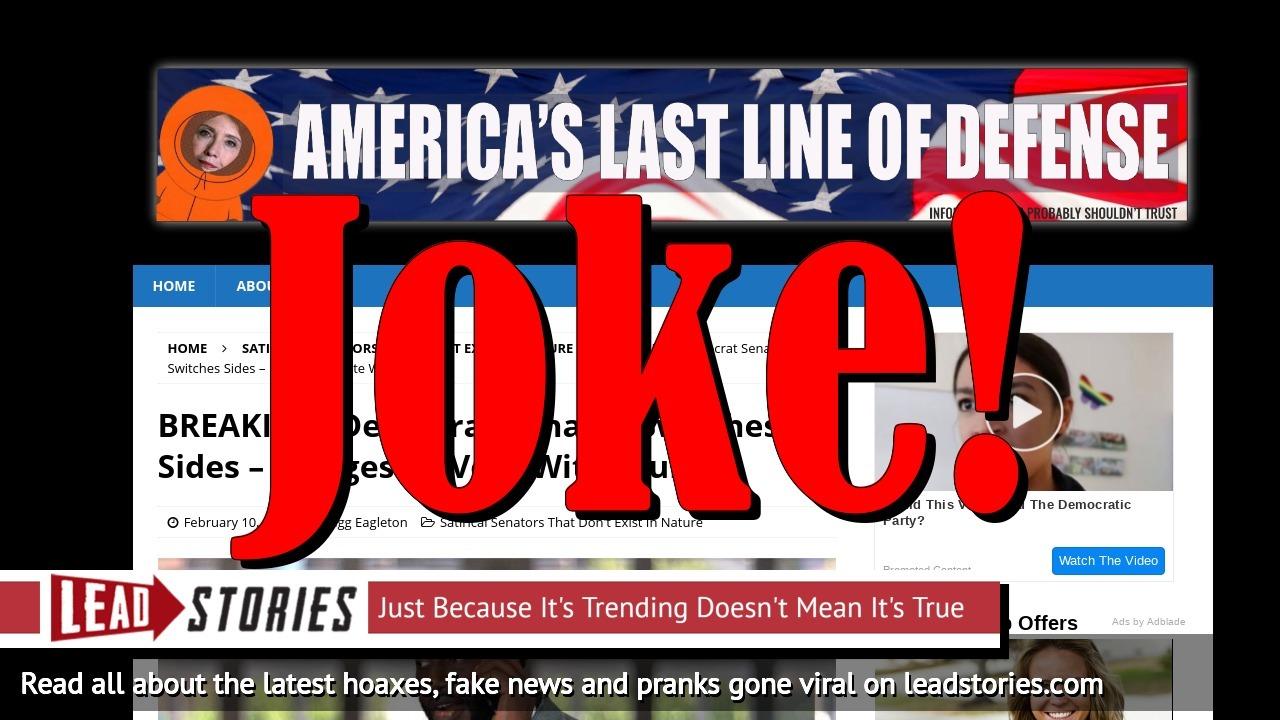 Fake News: Democrat Senator Stuart Boll Did NOT Switch Sides or Pledge To Vote With Trump