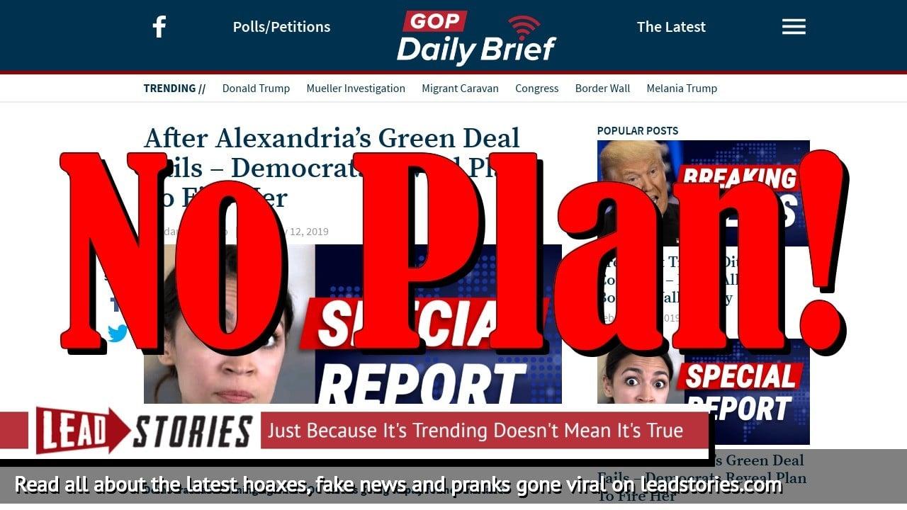 Fake News: Democrats Did NOT Reveal Plan To Fire Alexandria Ocasio-Cortez