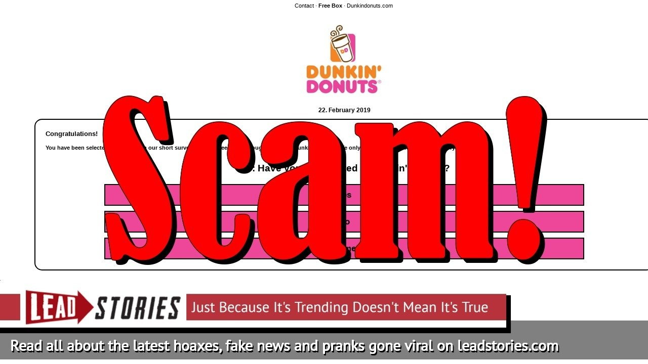Fake News: Dunkin' Donuts NOT Giving One FREE Box of 12 Donuts For Celebrating 70th Anniversary
