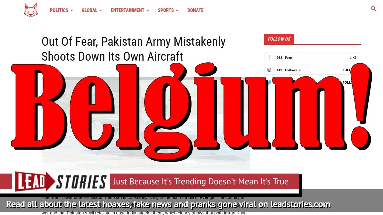 Screenshot of https://thefauxy.com/out-of-fear-pakistan-army-mistakenly-shoots-down-its-own-aircraft/