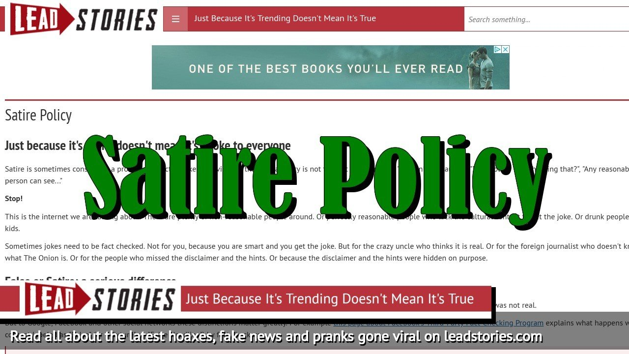 Screenshot of https://leadstories.com/satire-policy.html