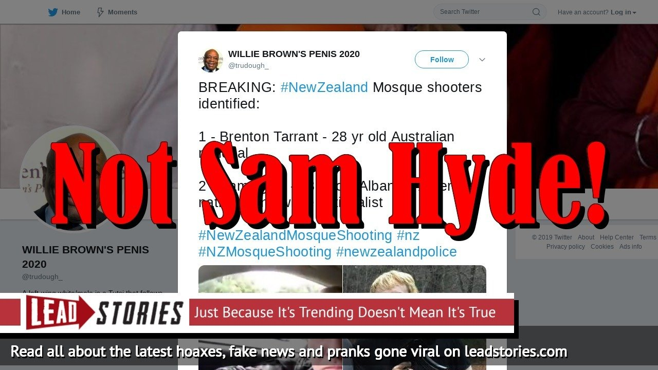 Fake News: Sam Hyde Was NOT The Shooter At Christchurch Mosque