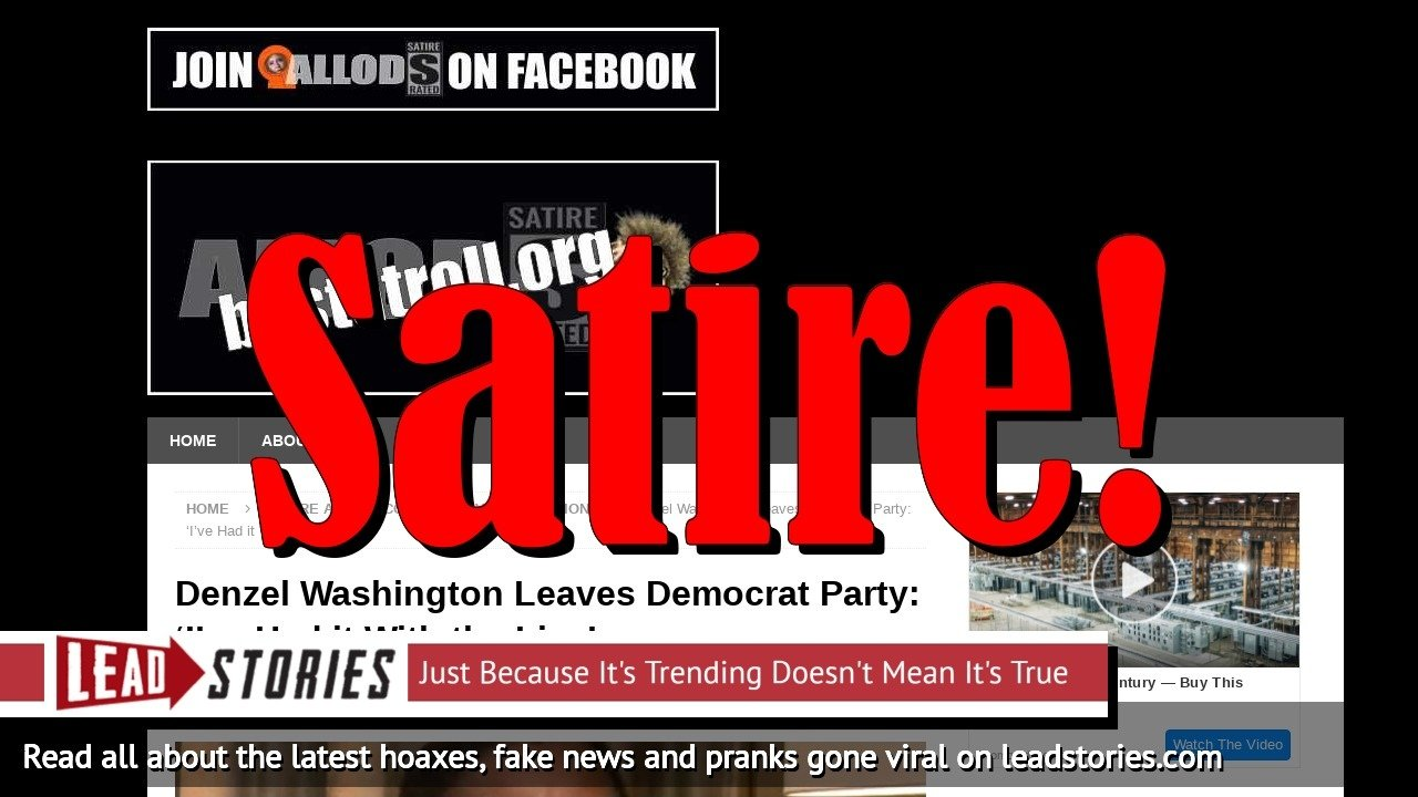Fake News: Denzel Washington Did NOT Leave Democrat Party, Did NOT Say: 'I've Had it With the Lies'