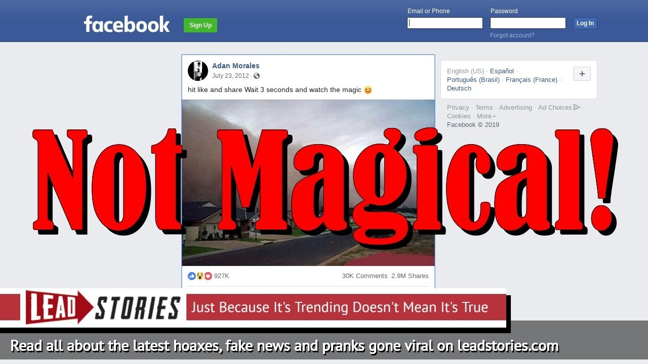 Fake News: Hitting Like And Share For Dust Storm Image Does NOT Cause Magic!