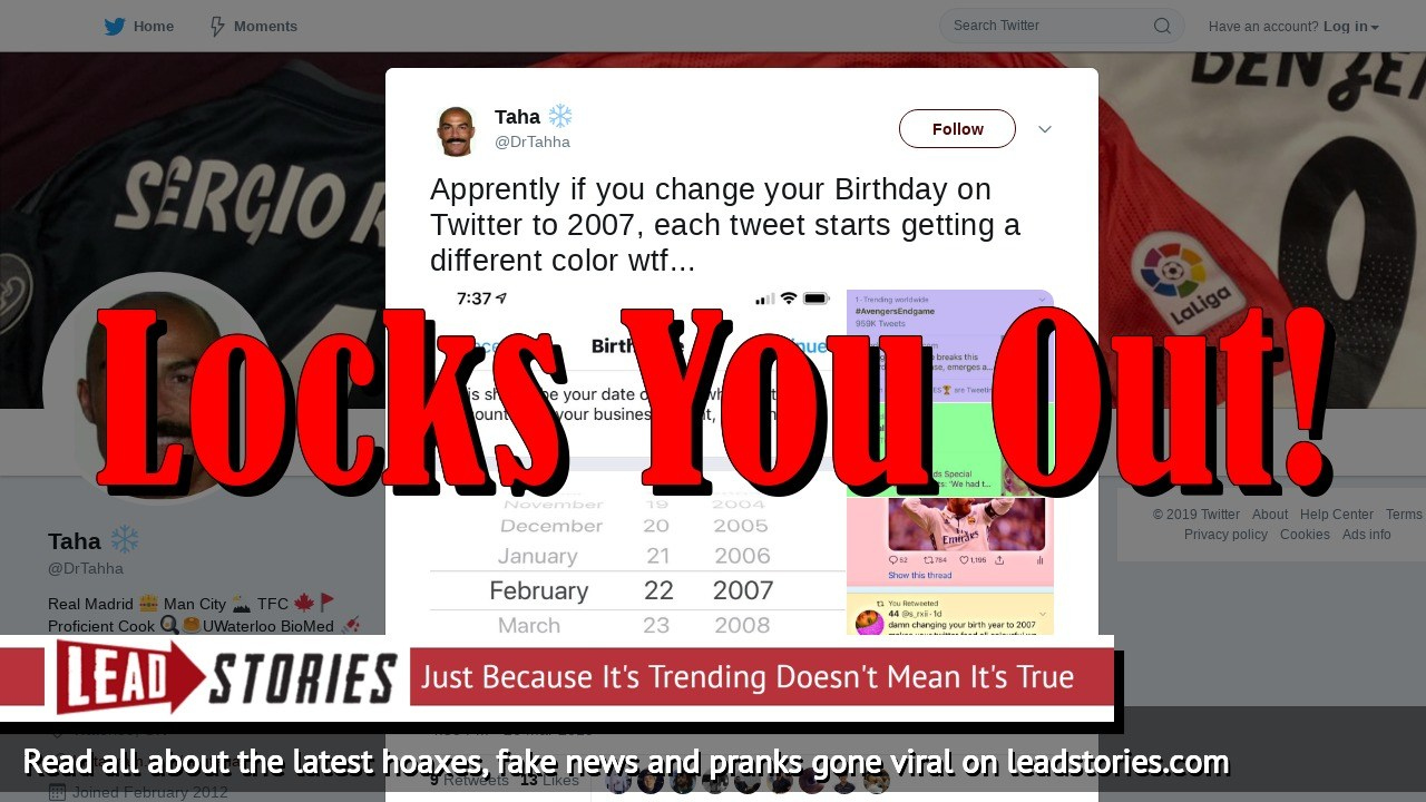 Fake News: Changing Your Birthday to 2007 on Twitter Will Not Unlock Different Colors -- Will Lock Your Account Instead
