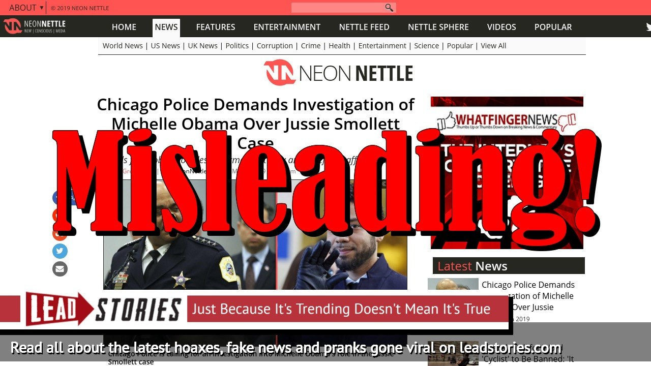 Fake News: Chicago Police Did NOT Demand Investigation of Michelle Obama Over Jussie Smollett Case