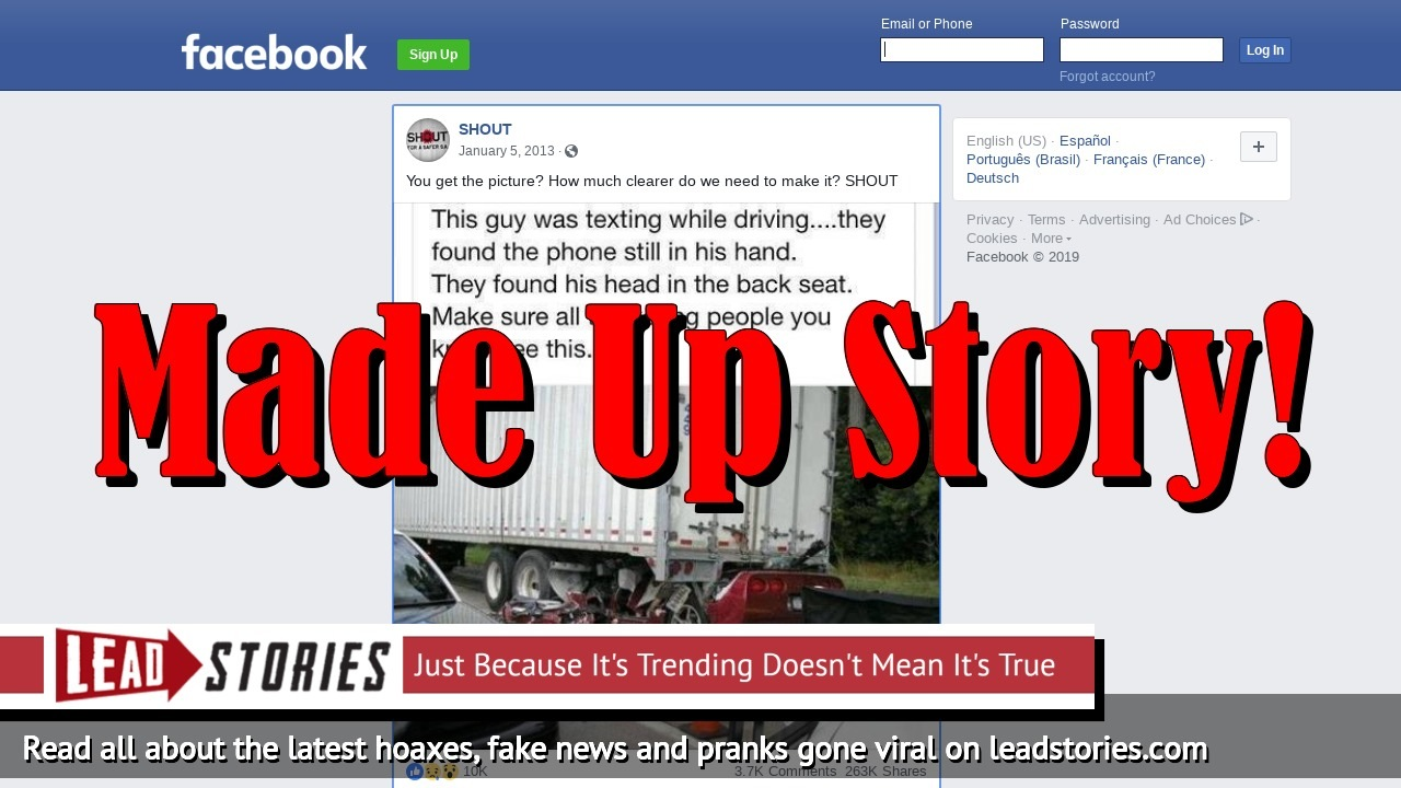 Fake News: Driver Of Corvette Pictured Crushed Under A Tractor-trailer Did NOT Die While Texting