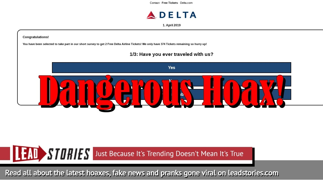 Fake News: Delta Airlines NOT Celebrating 55th Birthday By Providing Free Tickets To All
