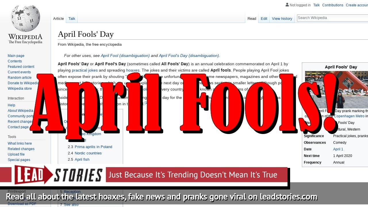 April Fools Day 2019: Running List of Jokes, Pranks and General Foolery...