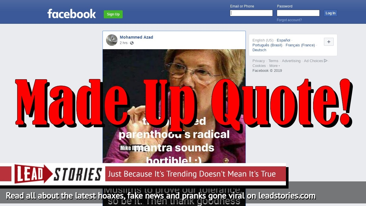 Fake News: Elizabeth Warren Did NOT Say 'If Women Need To Be Raped By Muslims To Prove Our Tolerance, So Be It'