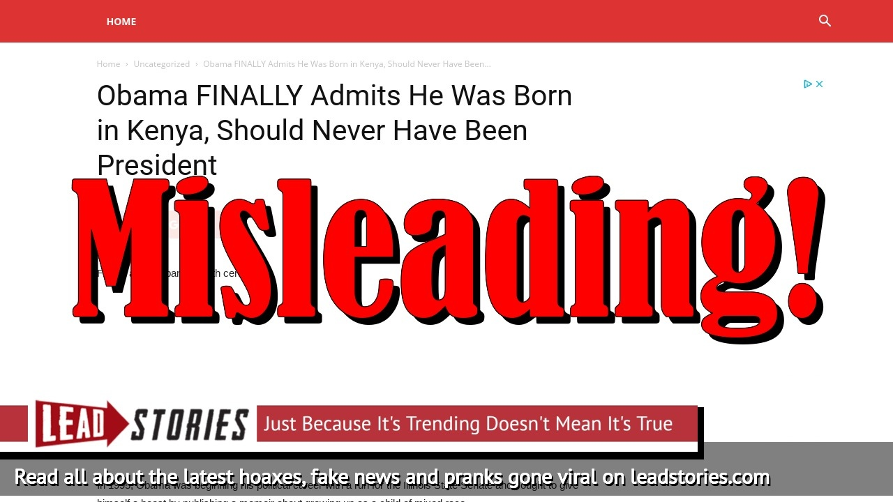 Fake News: Obama Does NOT FINALLY Admit He Was Born in Kenya, Should Never Have Been President