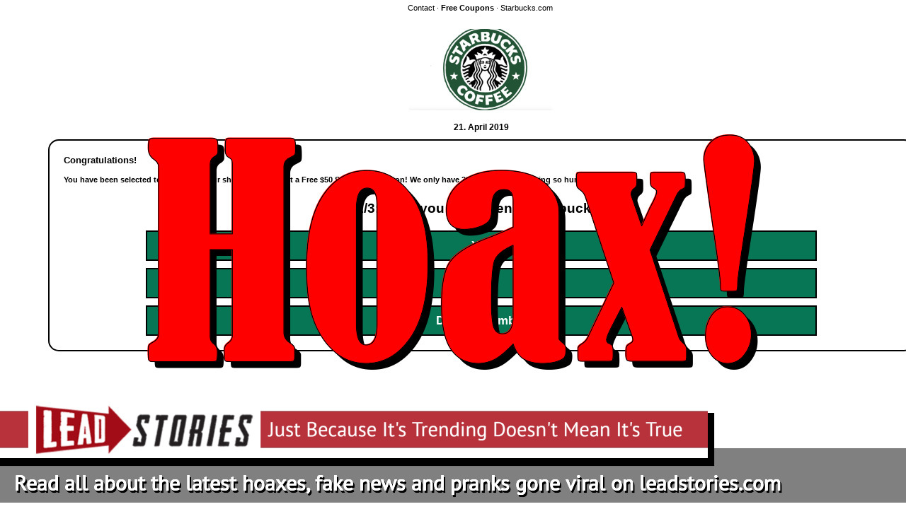 Fake News: Starbucks Is NOT Giving Free $50 Coupon Per Family To