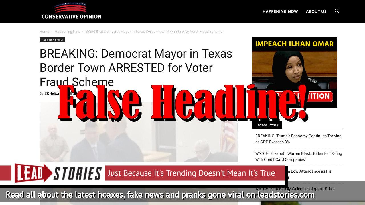 Fake News: Democrat Mayor in Texas Border Town NOT Arrested for Voter Fraud Scheme