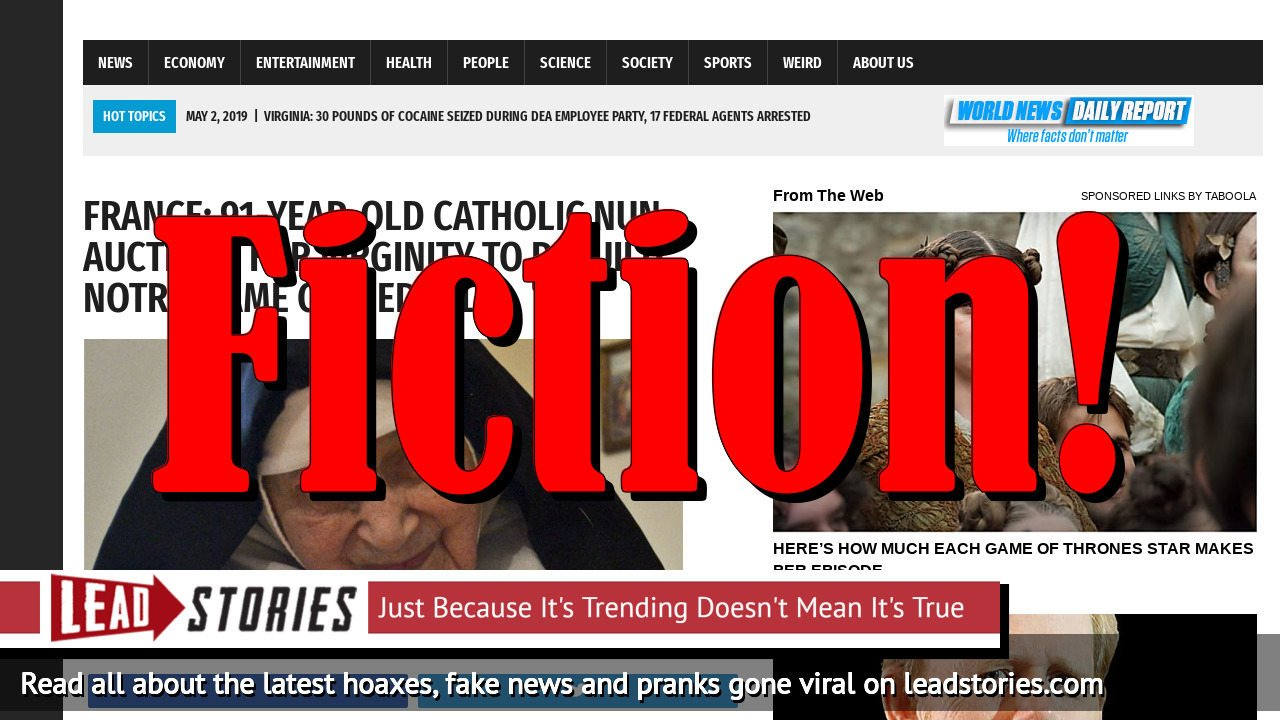 Fake News: 91-Year-Old Catholic Nun Did NOT Auction Her Virginity To Rebuild Notre Dame Cathedral in France