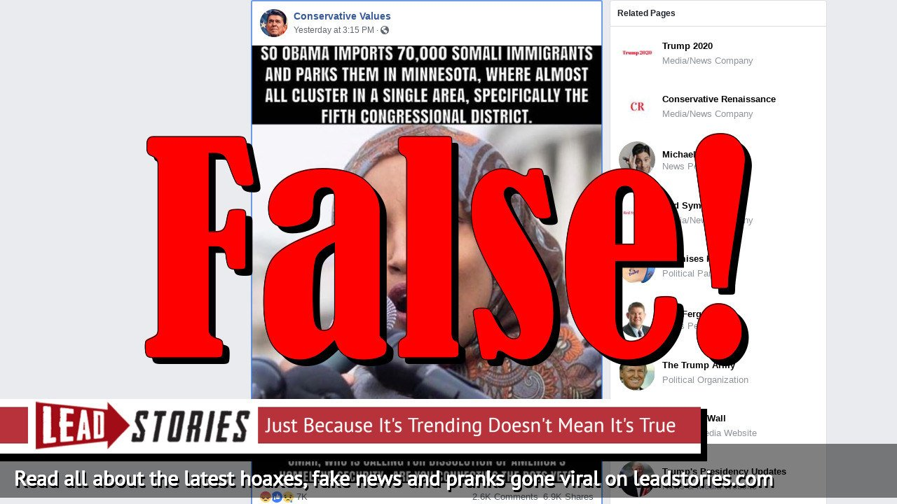 Fake News: Obama Did Not Import 70,000 Somali Immigrants And Park Them In Minnesota's 5th Congressional District