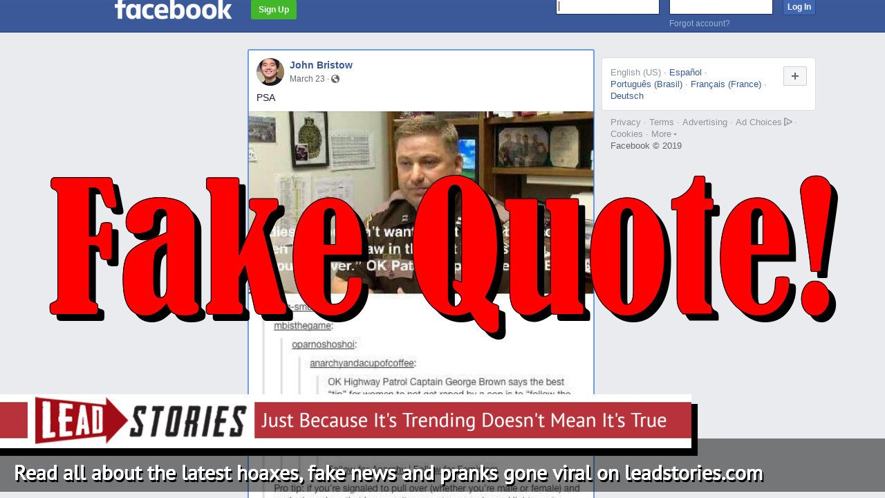 Fake News: OK Patrol Captain George Brown Did NOT Say 'Ladies, If You Don't Want To Get Raped By A Cop, Then Follow The Law'