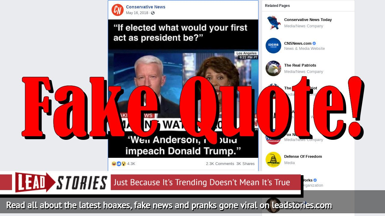 Fake News: Maxine Waters Did NOT Say She Would Impeach Donald Trump If She Were President