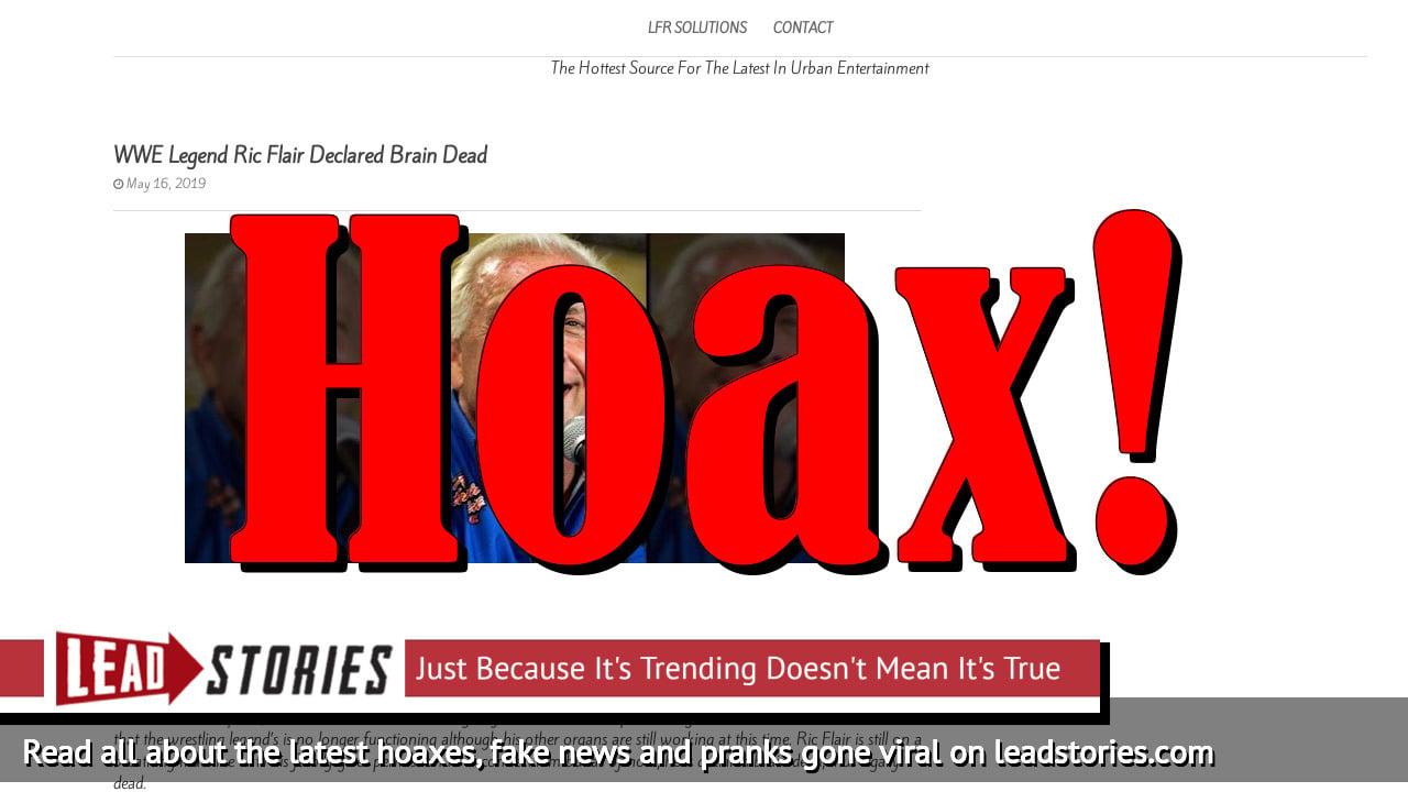 Screenshot of https://lfrsolutions.com/wwe-legend-ric-flair-declared-brain-dead/