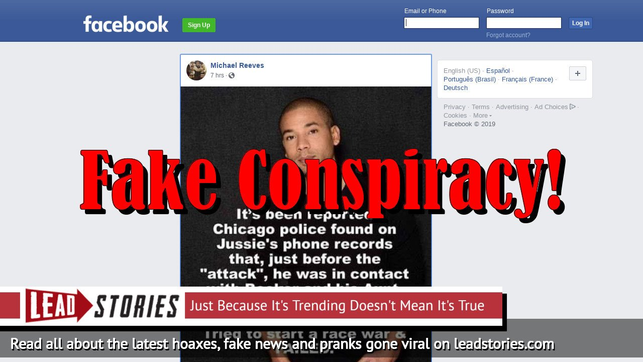 """Fake News: Chicago Police Did NOT Find On Jussie Smollett's Phone Records Before 'Attack"""" He Was In Contact with Cory Booker And Aunt Kamala Harris, Orchestrating To Start A Race War"""