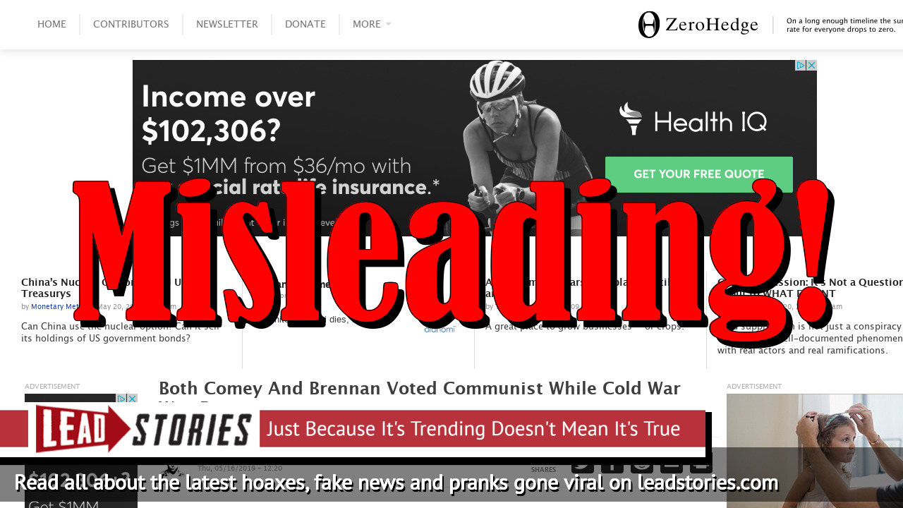 Screenshot of https://www.zerohedge.com/news/2019-05-16/both-comey-and-brennan-both-voted-communist-while-cold-war-was-raging