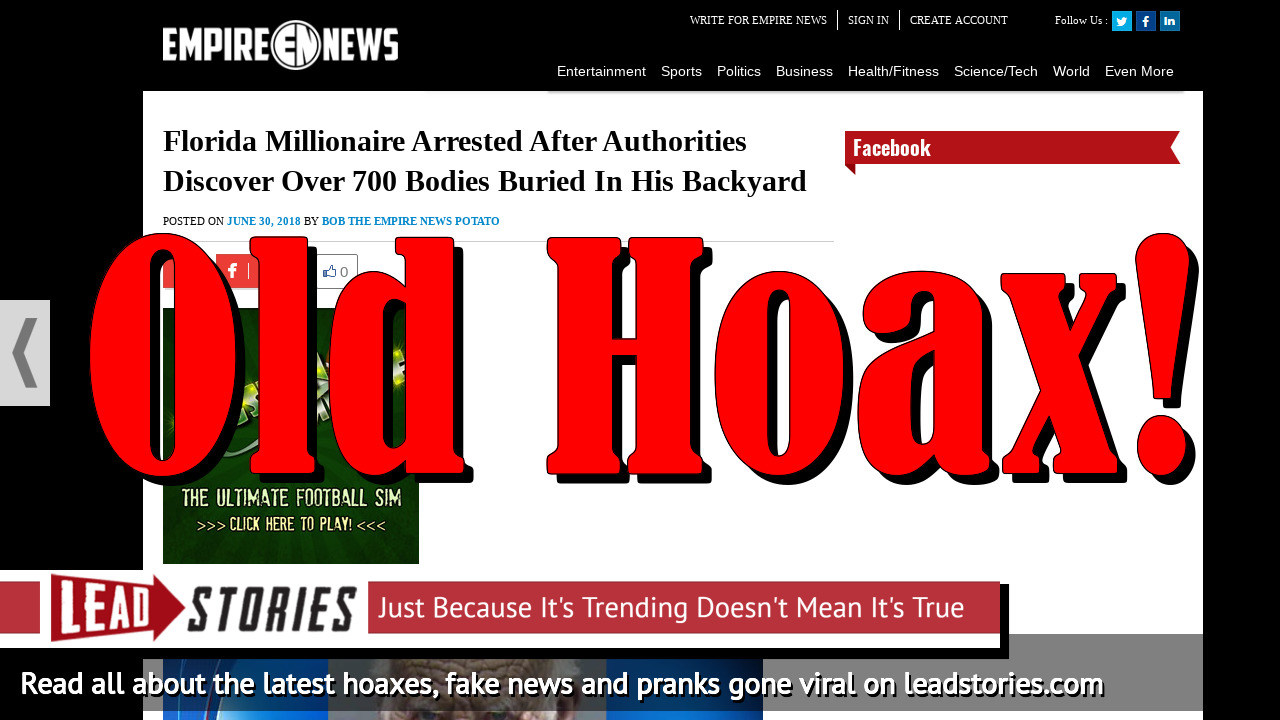 Fake News: NO Florida Millionaire Arrested, Authorities Did NOT Discover Over 700 Bodies Burried in His Backyard
