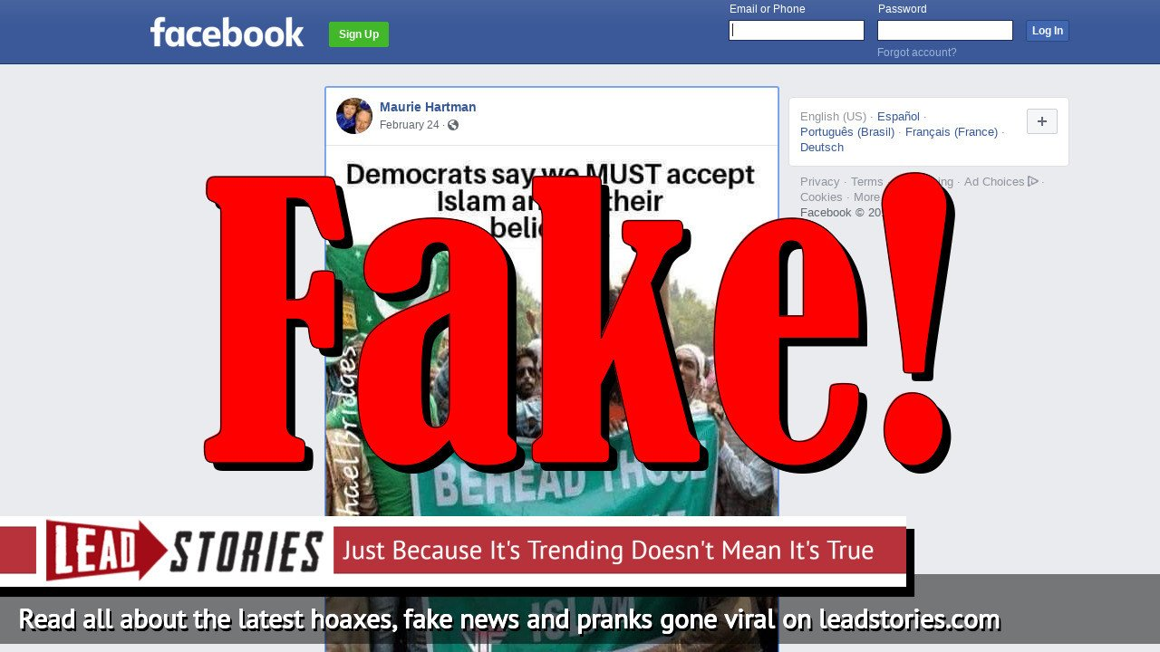 Fake News: Democrats Do NOT Say We MUST Accept Islam And All Their Beliefs
