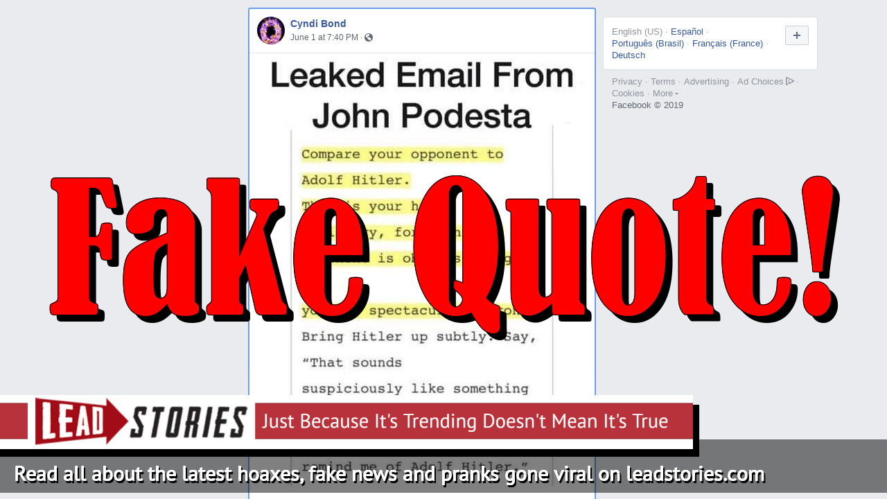 Fake News: John Podesta Did NOT Advise Democrats To Compare Your Opponent To Adolf Hitler In Email Found By Wikileaks