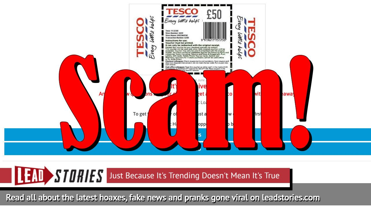 Fake News: Tesco Did NOT Announce Everyone Who Shares a Link Will Be Sent £50 Voucher