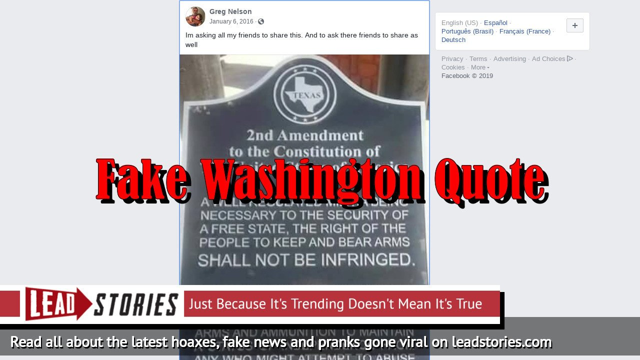 Fake News: George Washington Quote About Arms and Ammunition Is NOT Real