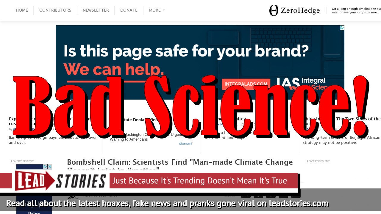 Fake News: NO Bombshell Claim: Scientists Do NOT Find 'Man-made Climate Change Doesn't Exist In Practice'