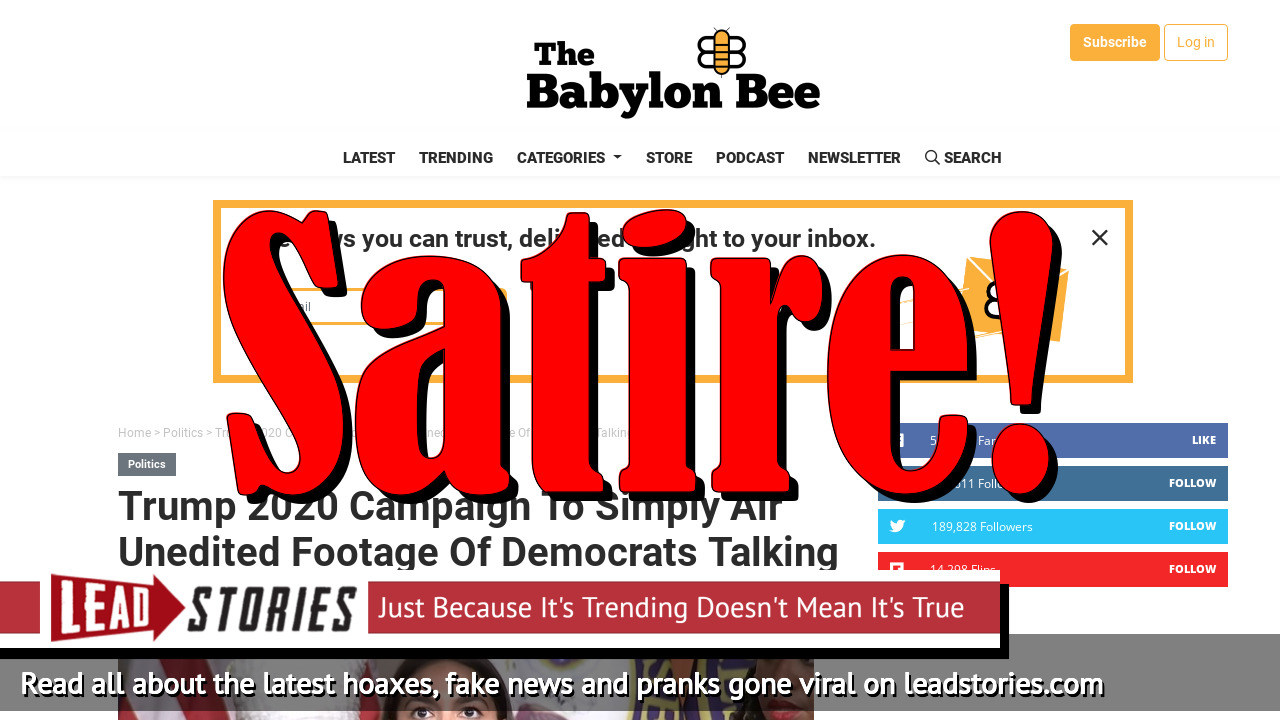 Screenshot of https://babylonbee.com/news/trump-unveils-2020-campaign-strategy-of-just-letting-democrats-speak-freely