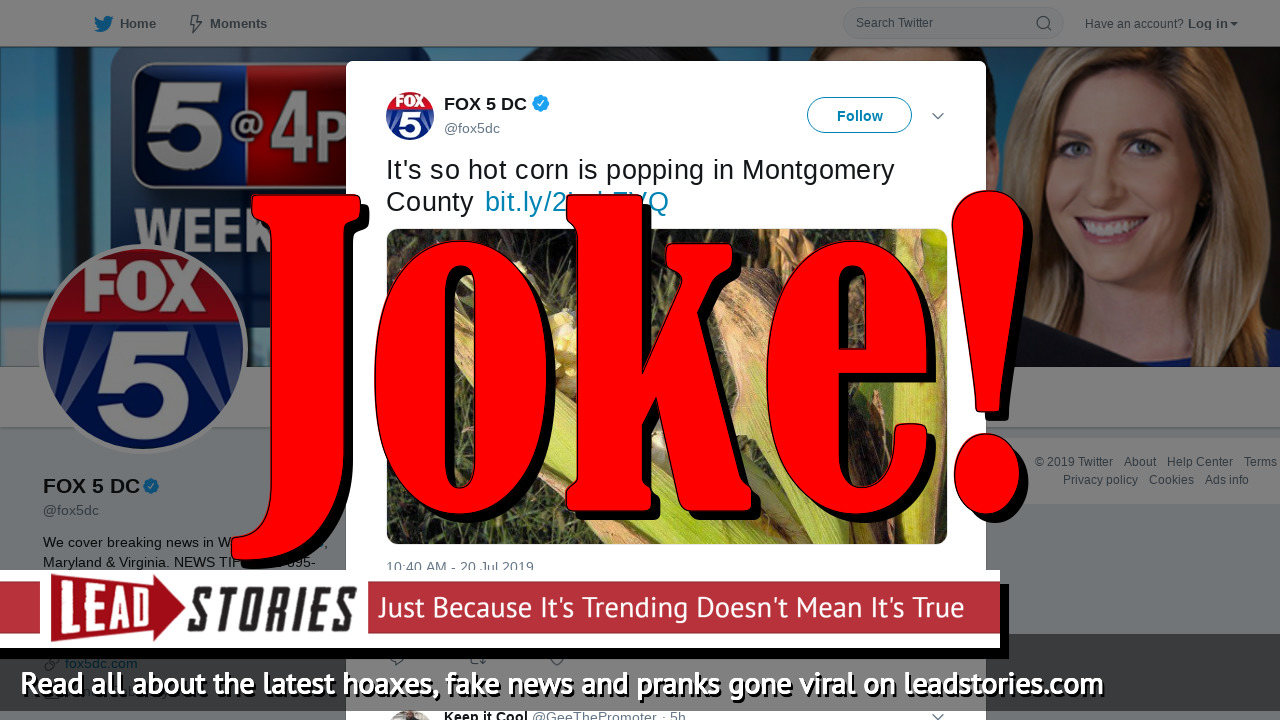Fake News: It Is NOT So Hot in Montgomery County That Corn Is Popping In The Field