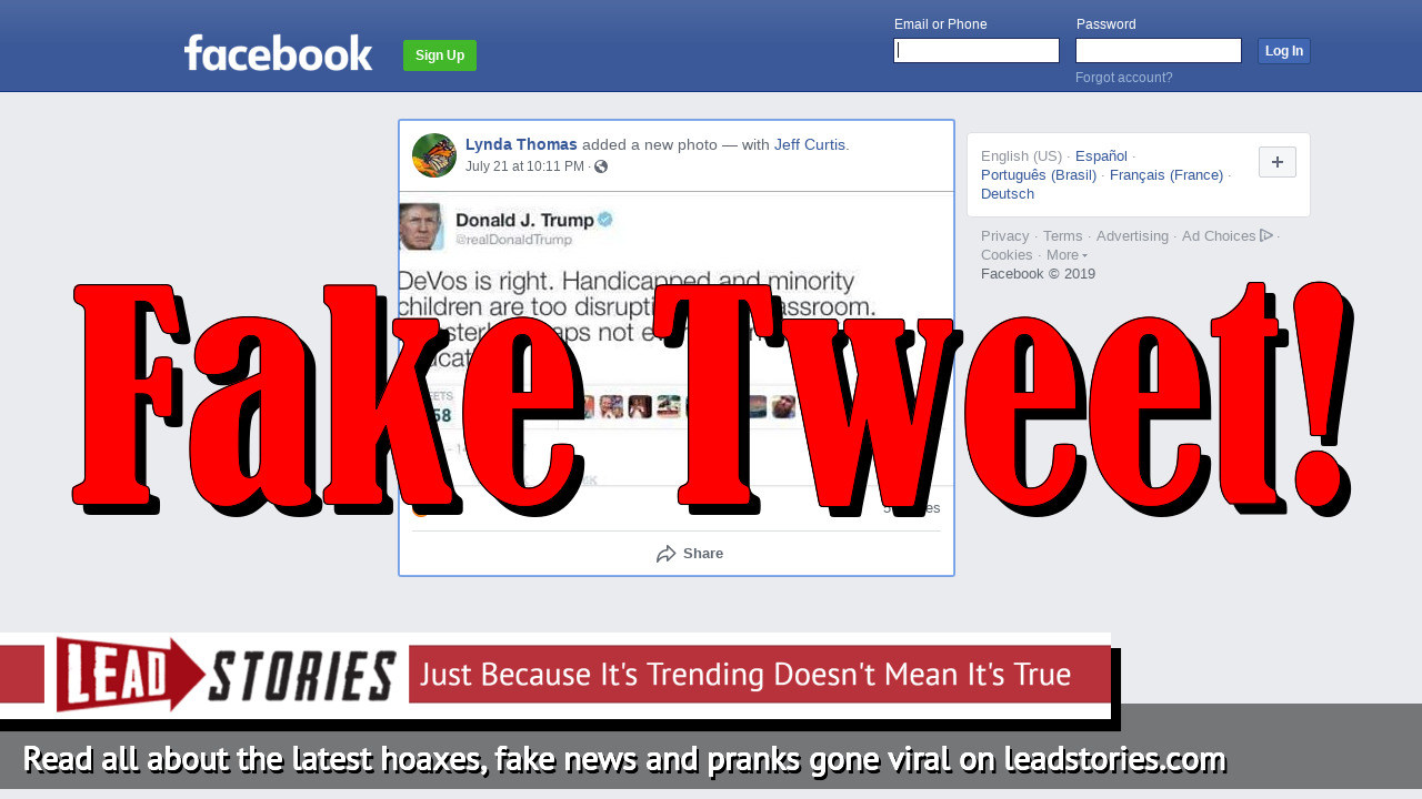 Fake News: President Trump Did NOT Tweet 'Handicapped And Minority Children Are Too Disruptive In The Classroom'