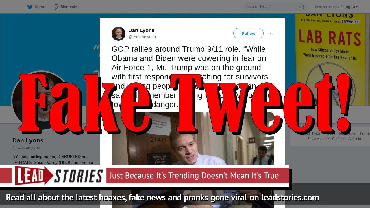 Fake News: Rep. Jim Jordan Did NOT Say 'Obama And Biden Were Cowering In Fear On Air Force 1' After 9/11 Attacks