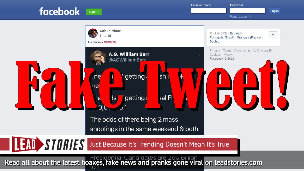 Fake News: AG William Barr Did NOT Tweet Odds Of Mass Shootings In Hometowns Of 2 Democrat Presidential Candidates Are 250 Billion To 1