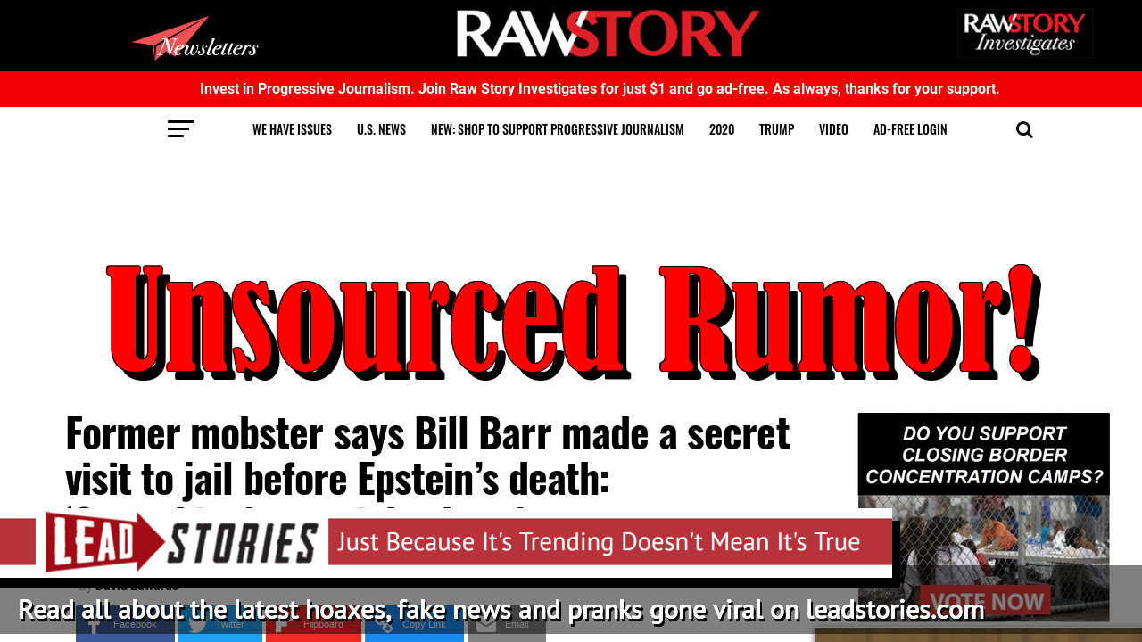 Fake News: Bill Barr Did NOT Allegedly Make Secret Visit To Jail Before Epstein's Death